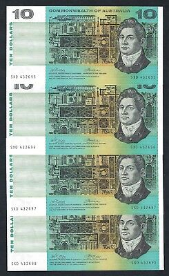 4x Commonwealth of Australia 1972 Phillips/Wheeler $10 Consecutive Notes R304