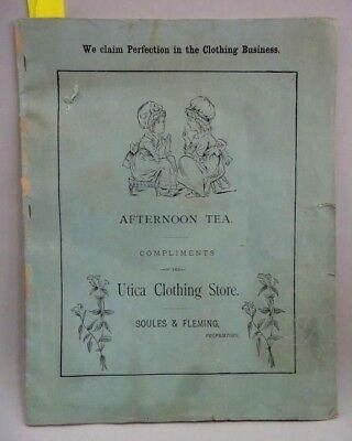 antique UTICA CLOTHING STORE CHILD COLORING BOOK unused SOULES & FLEMING ny