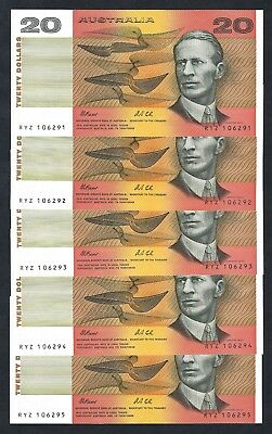 5x Australian 1991 Fraser/Cole $20 Consecutive Banknotes R413