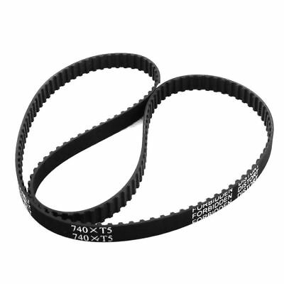 "T5x740 148-Tooth 10mm Width Black Rubber Groove Timing Belt 29"" for 3D Printer"