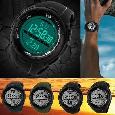 LED Rubber Sport Men's Digital Shock Resistant Swimming Round Large Face Watch