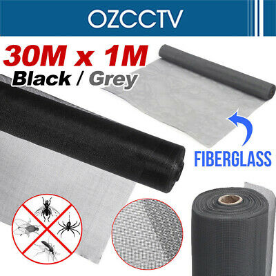 100FT / 30M Roll Insect Flywire Window Fly Screen Net Mesh Flyscreen Black/ Grey