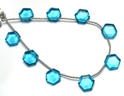 Swiss Blue Topaz Gem Color Hydro Quartz Faceted 11MM Hexagon Shape Beads 9""