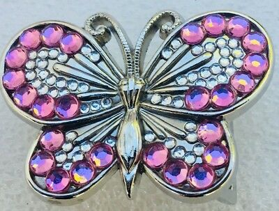 Bling Butterfly Belt Buckle Ladies Girls Rhinestone Diamante feeanddave