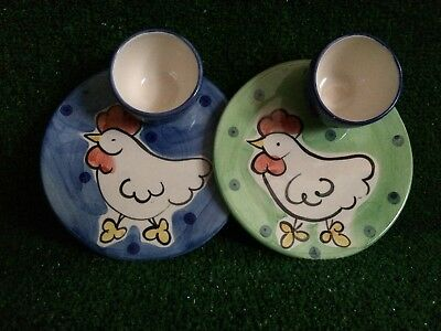 Hand painted Egg cups with attached plates x2