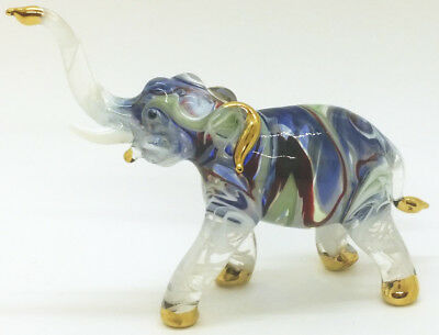 Elephant Blown Glass Art Animals Figurines Hand Blowing Collectibles Decor gifts