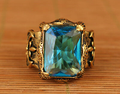 Chinese Old Copper Hand Carving Crystal Collect Ring Noble Gift