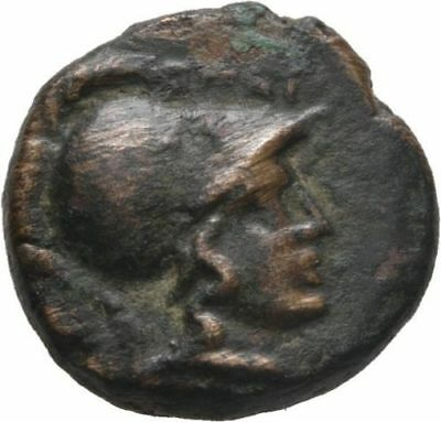 Ancient Greece  196-146 BC Thessalian League AE17 Helmeted Head with Horse |