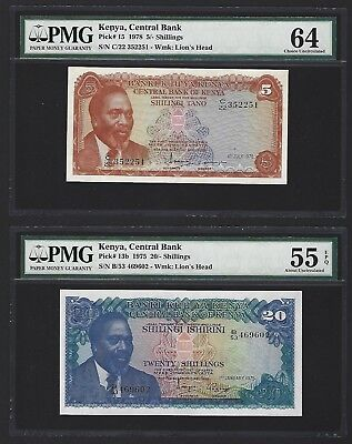 1975 and 1978 Kenya 5 Shillings + 20 Shillings PMG 55-64 aUNC and UNC, P-13b-15