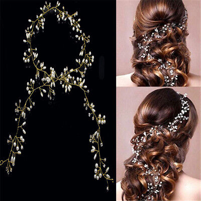 Handmade Pearl Wedding Hair Vine Crystal Bridal Accessories Diamante Headband