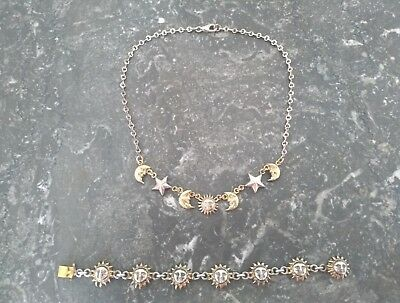 Sergio Bustamante vintage set of celestial necklace and bracelet Sun Moon Stars