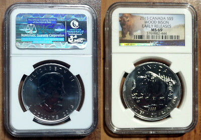 2013 Canadian Wood Bison. .999 Silver Bullion Coin. NGC MS69 Early Release.