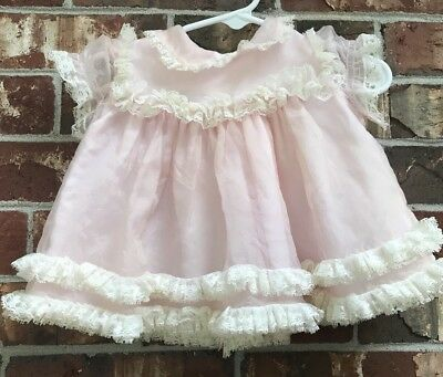 Vintage Baby Girl Sheer Ruffle Lace Dress 0-6 Months
