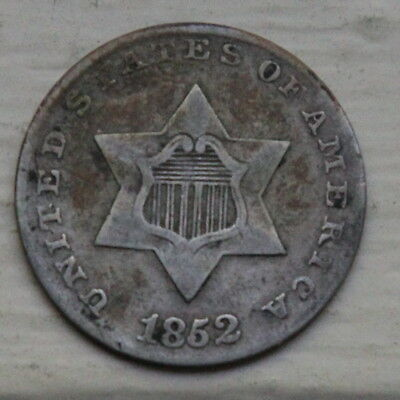 1852 Silver Three 3 cent coin