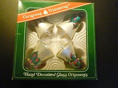 Bell Glass Ornaments - Hand Decorated -  by Bradford Ornaments - box of 4!