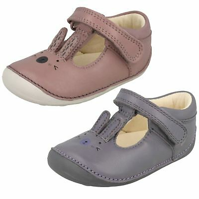 Infant Girls Clarks T-Bar Hook & Loop Leather First Shoes Little Glo