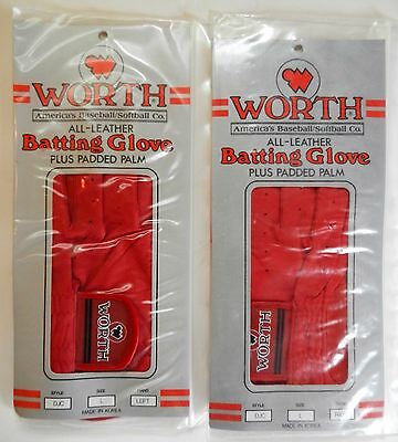 NIP! Worth Adult Red Leather Baseball Batting Glove with Padded Palm Sz L, XL