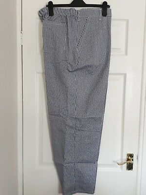 """Chef Blue/white Check Trousers Size 46"""" 116Cm Food Industry Brand New Packaged"""