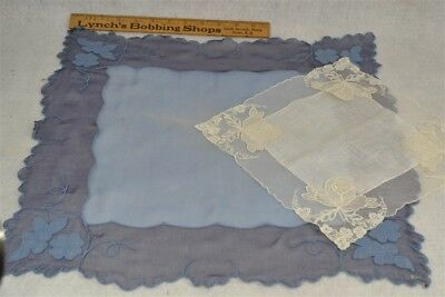 antique  lace handkerchief hanky blue chiffon white appliqued lace wedding two