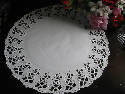 """20 pcs 14"""" INCH WHITE PAPER LACE DOILIES DOILY ROUND PLACE MATS TABLE SETTING"""