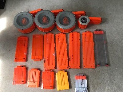 LOT of 16 Nerf 18 Max Round Dart Gun Ammo Clip Magazines Orange Drum