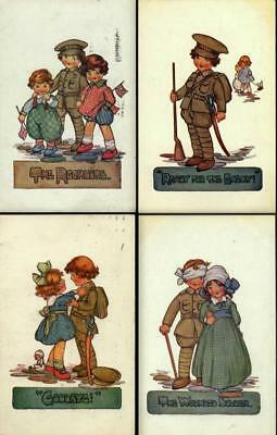 Lot x 4 Vintage WWI Marsh Lambert Signed Postcards - Soldier & His Sweetheart