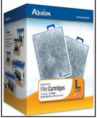 AQUEON LARGE 12 Pack FILTER CARTRIDGE FOR QUIET FLOW 20.30,55 & 75 FILTERS. 12PK