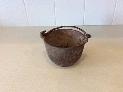 "Antique Small Cast Iron Metal Smelting  Pot  4 3/4 "" Diameter 3 1/2"" H"