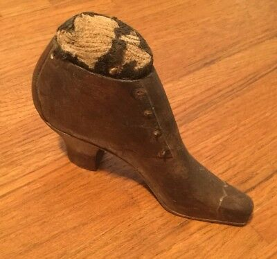 Antique - Very Used / Very Old WOOD SHOE PIN CUSHION
