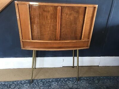 A Vintage TV Cabinet With Tambour Doors On Atomic Legs, Midcentury Minibar