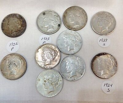 Lot Of 10 Peace Silver Dollars  2- 1922 P / 6 -1923 P /  1- 1923 S / 1 - 1924 S