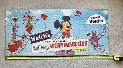 Vintage Welchs Grape Walt Disney Mickey Mouse Club Advertising Poster Sign ABCTV
