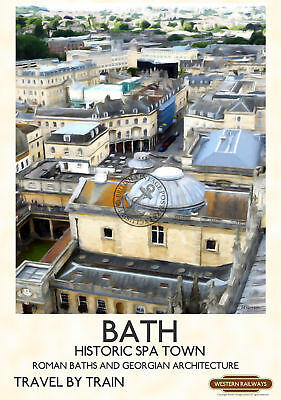 BATH View Cathedral Tower VINTAGE RAILWAY POSTER ART PRINT A2 A3 A4 Postcard