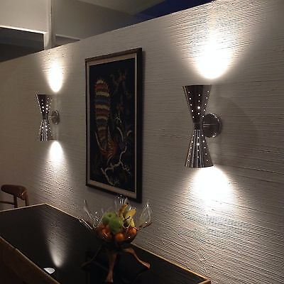 Atomic 50's 60's style mid-century modern bow tie dual cone wall sconce lamp