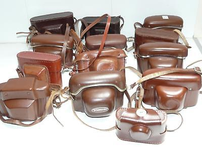 Job Lot of 13x Vintage Brown Leather 35mm Film Camera Cases