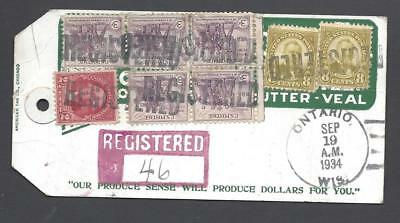 Reg Produce Mailing Tag-1935-8 Stmps-Wisconsin