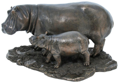Hippo And Baby Hippo Sculpture Figurine - HOME DECOR - FATHERS DAY GIFT