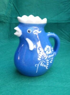 Vintage Betws-y-coed Welsh Blue & Cream Chicken Jug #2