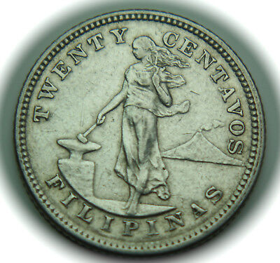 1903 Philippines 20 Centavos KM# 166 Silver Coin - No Reserve!