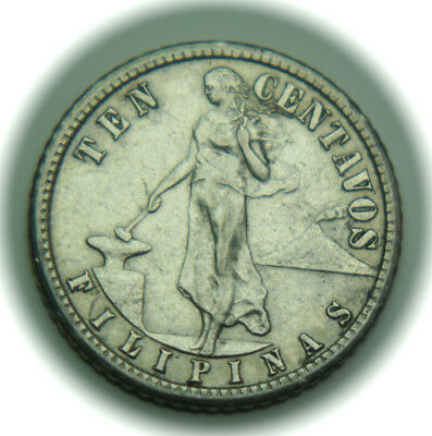1908-S Philippines 10 Centavos KM# 169 Silver Coin - No Reserve!