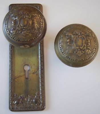 Antique Ornate Victorian Door Knobs and Back-plate - Brass