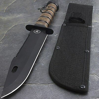 """12"""" USMC MARINES TACTICAL MILITARY FIXED BLADE KNIFE Survival Hunting WWII"""
