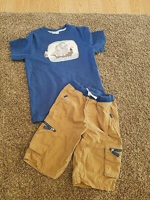 Hanna Andersson Boys Pirate Shirt Cargo Shorts sz 140