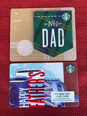 2 New Starbucks 2018 Happy Father's Day No. 1 Dad Gift Cards Lot Die Cut Limited