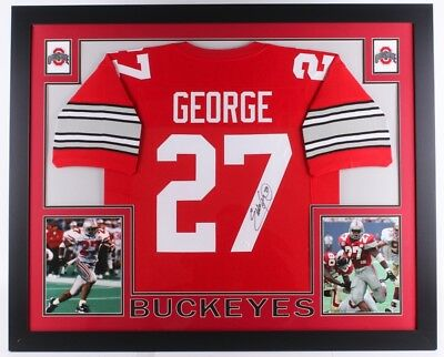 d2656b090b2 Eddie George Signed Ohio State Buckeyes 35x43 Custom Framed Red Jersey (JSA  COA)