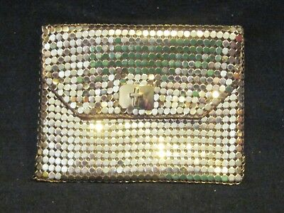 Vtg Whiting&Davis Mesh Coin Purse Gold Tone Cross Snap NEVER Used Clean Mint
