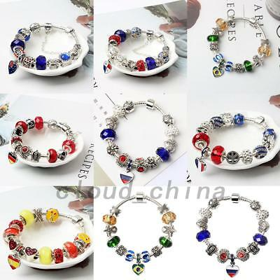 2018 World Cup National Flag Alloy Crystal Beads Charm Bracelet Jewelry Present