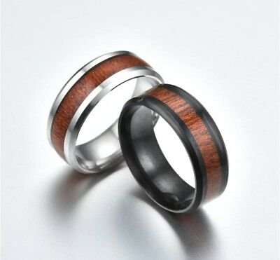 8MM Wood Inlay Stainless Steel Men Women Wedding Engagement  Ring Band Size 6-13