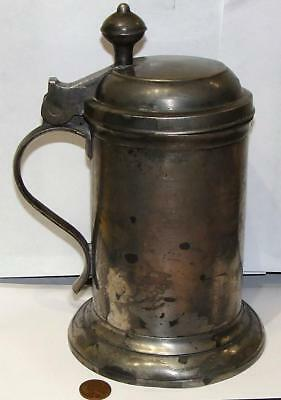 Large Antique Pewter Lidded Tankard, c. 19th Century