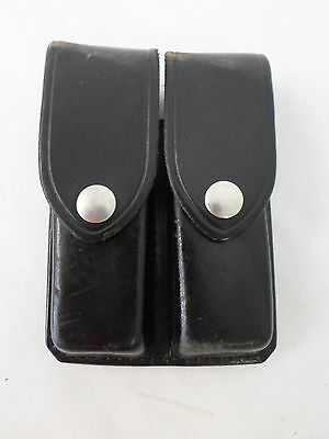 Don Hume D407 Dual Magazine Holder Case Holster 850.A Black Leather Nickel Snap